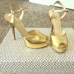 Nine West Gold Peep-Toe Platform Heel Sandal
